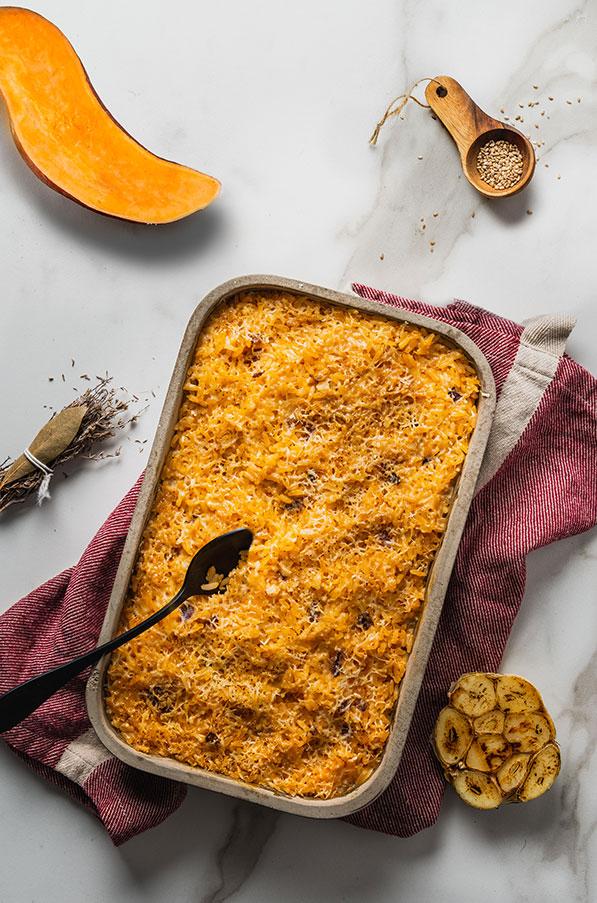 Gratin de riz a la patate douce et sésame