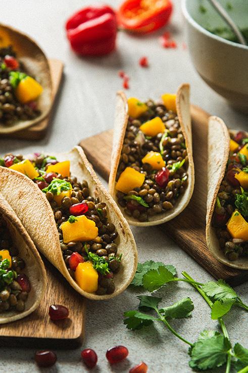 Tacos de lentilles du lauragais sauce verte