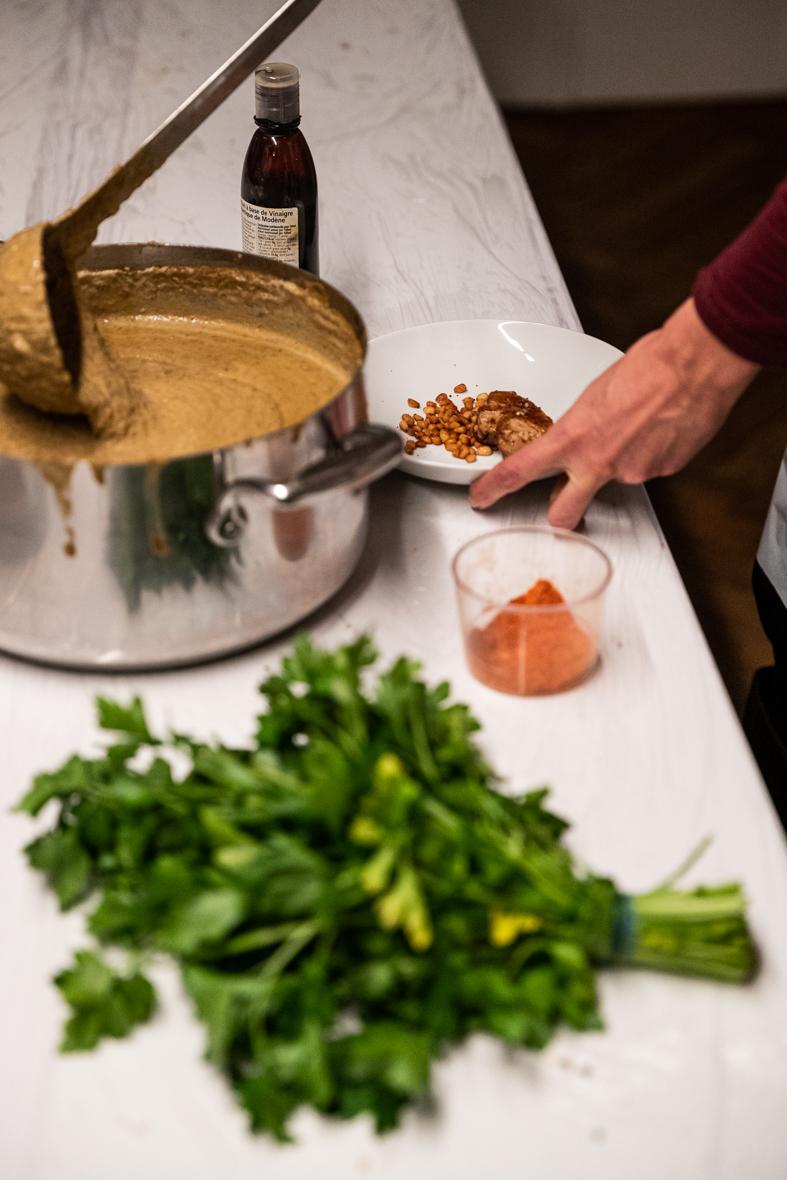 Recette crème de lentilles aux graines de tournesol et foie gras